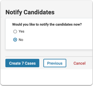 Select whether or not to notify candidates