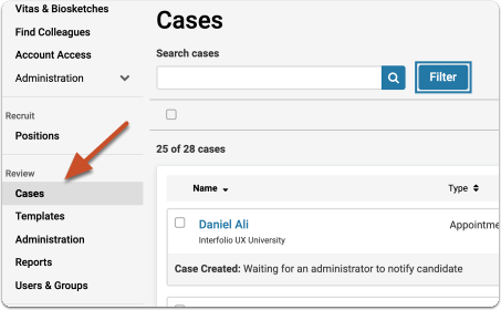 """Select """"Cases"""" from the left hand navigation menu"""
