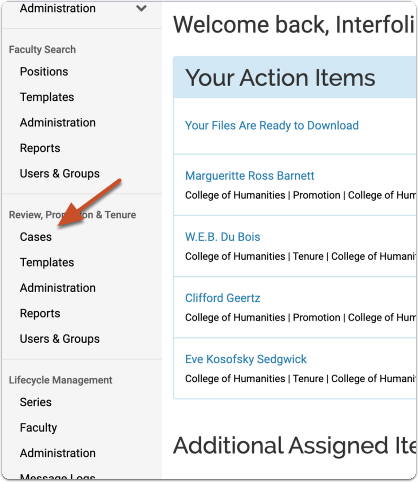 """Select """"Cases"""" from the left hand RPT navigation menu to view a list of all the cases to which you have access"""