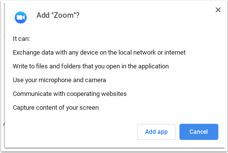 Add Zoom popup window