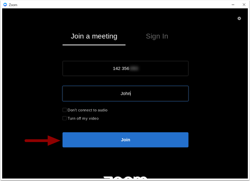 Zoom app - Join a meeting