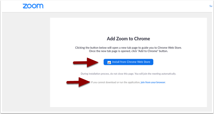 Add Zoom to Chrome page