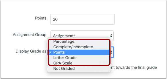 Review Existing Assignment Configuration