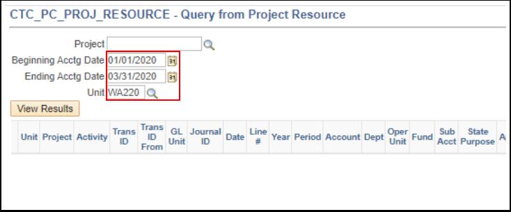 Entering Query criteria page