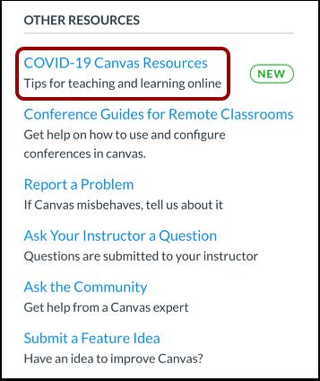 COVID-19 Canvas Resources