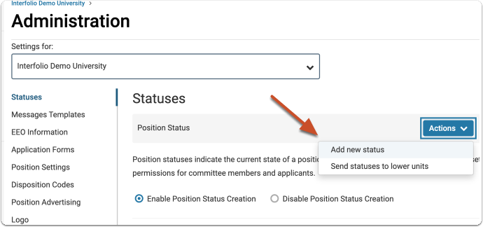 "Click ""Actions"" and select to add a new status"