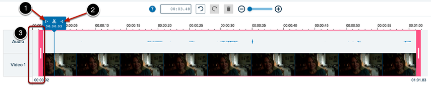 screen shot of editing timeline with numbered items to indicate editing functions