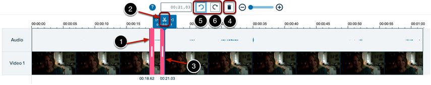 screen shot of video timeline with numbered items to indicate editing functions