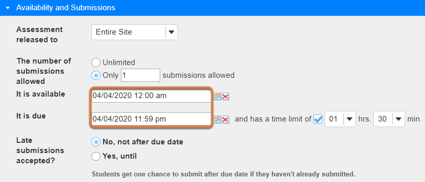 Example settings: Available 12 am, due 11:59 pm.