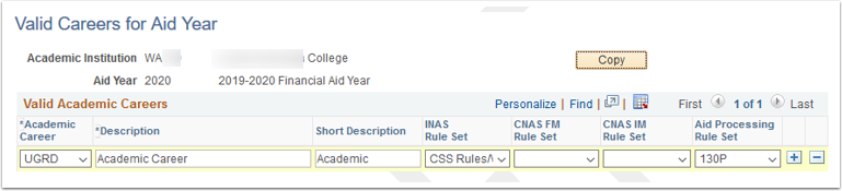 Valid Careers for Aid Year page