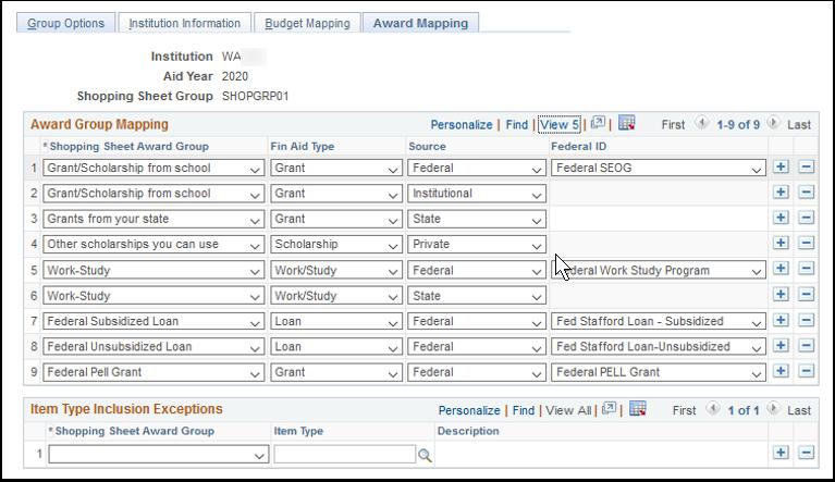 Award Mapping tab