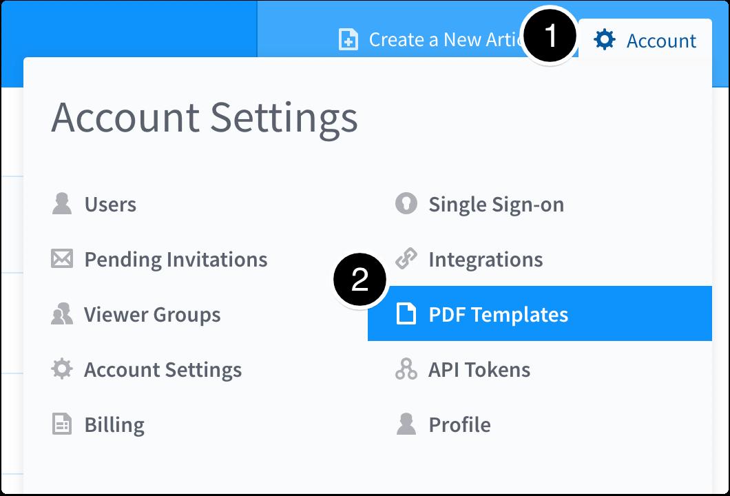 Account > PDF Templates