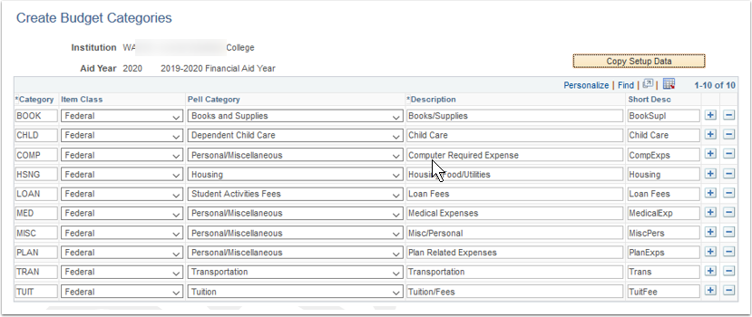 Create Budget Categories page