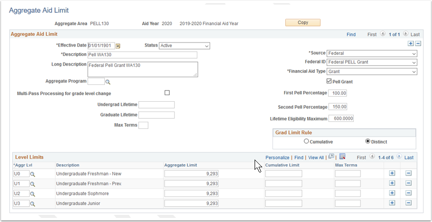 Aggregate Aid Limit page
