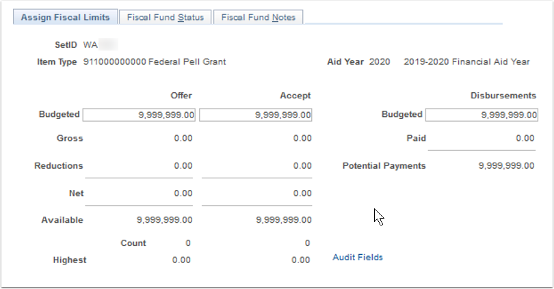 Assign Fiscal Limits tab