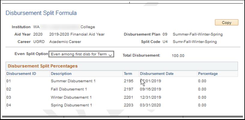 Disbursement Split Formula page