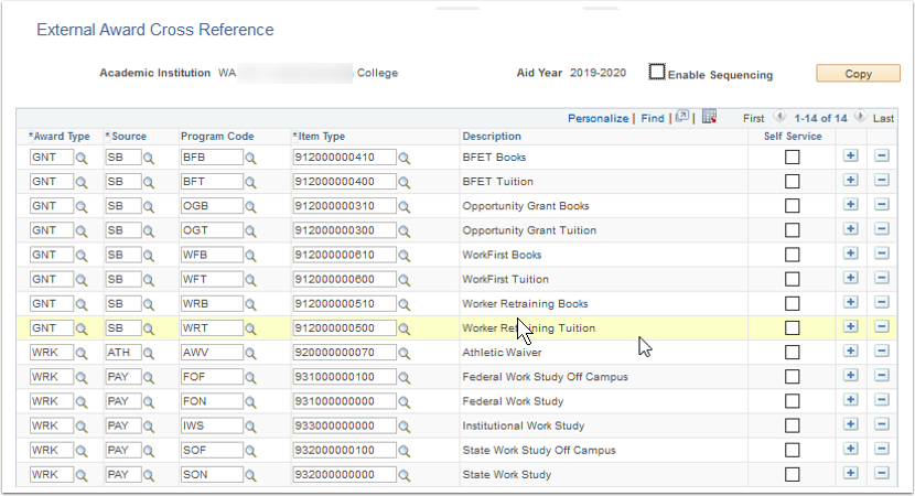External Award Cross Reference page