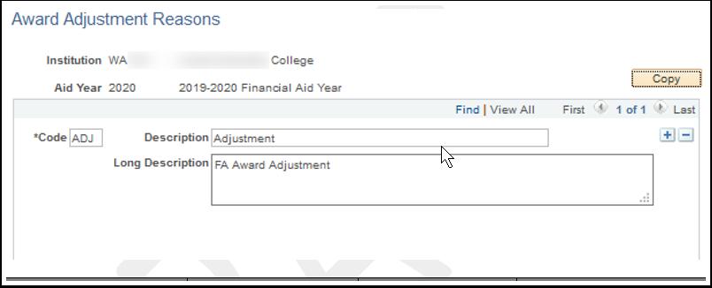 Award Adjustment Reasons page