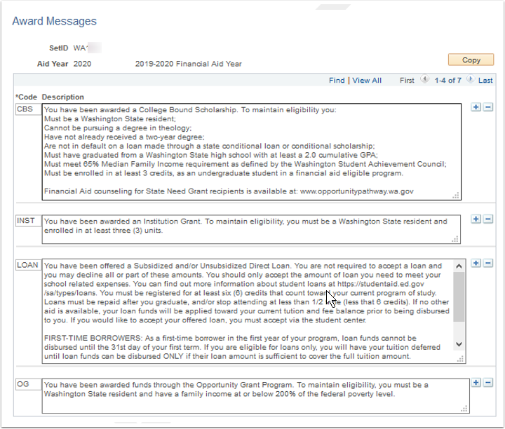 Award Messages page