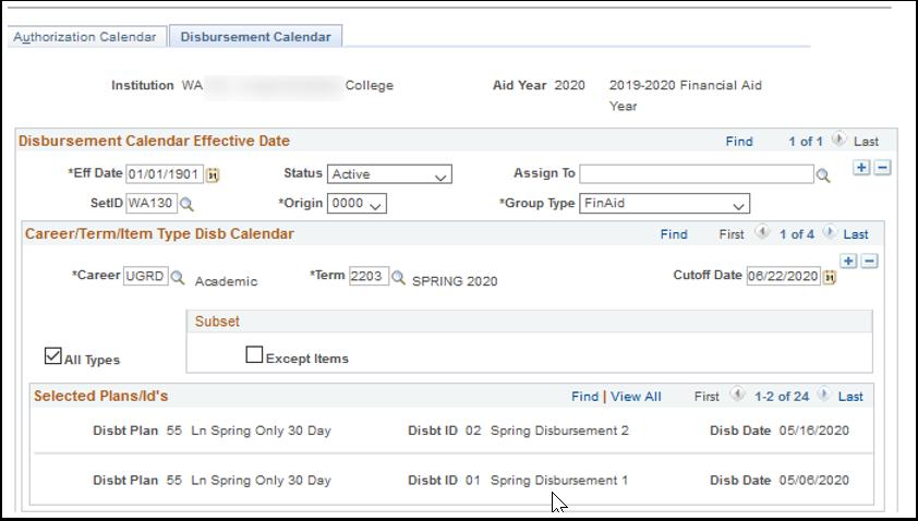 Disbursement Calendar tab