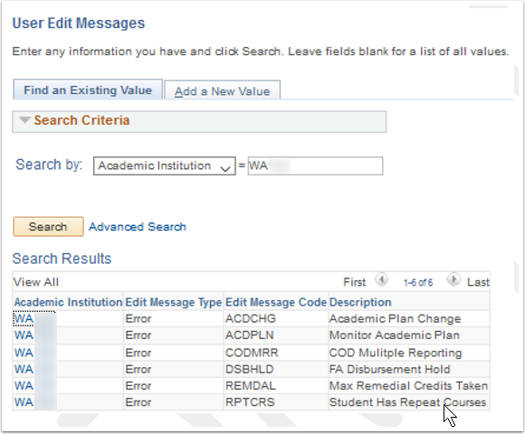 User Edit Messages Search page