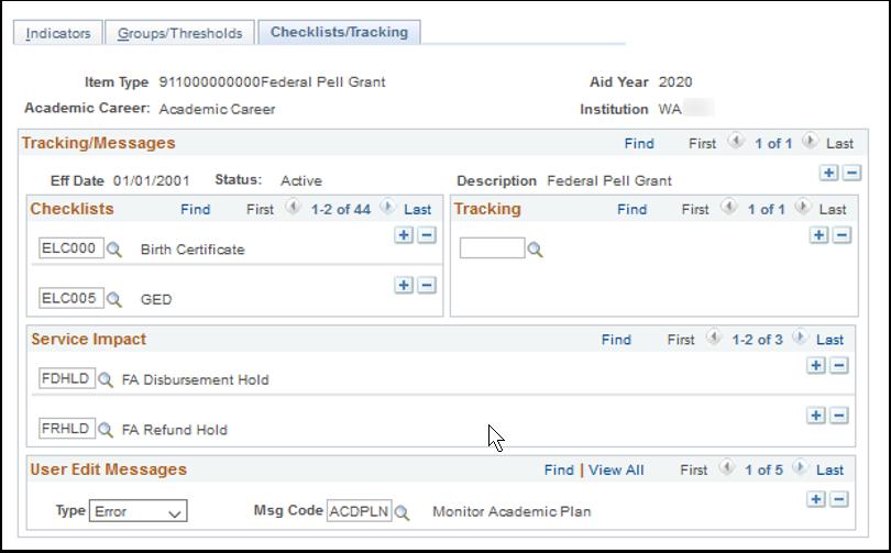Checklists Tracking tab