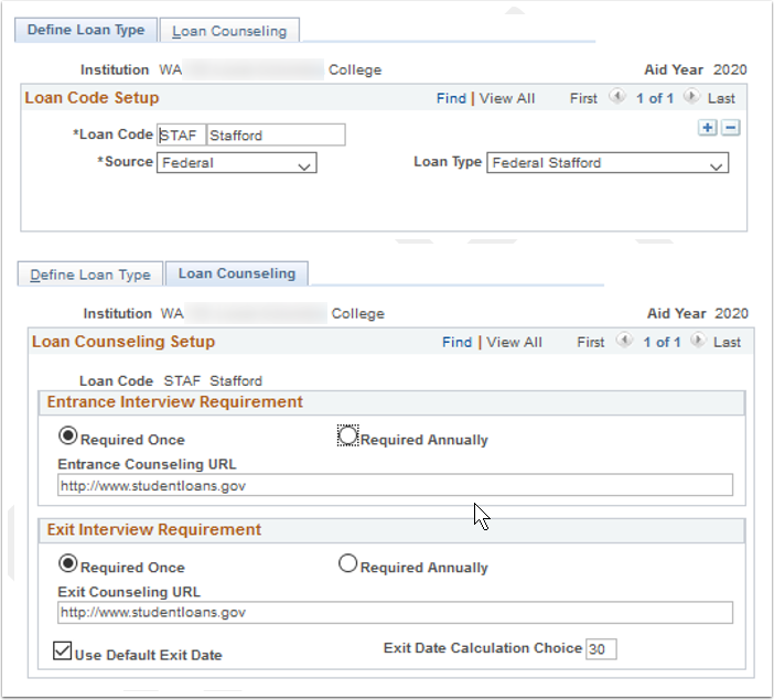 Define Loan Type and Loan Counseling tabs