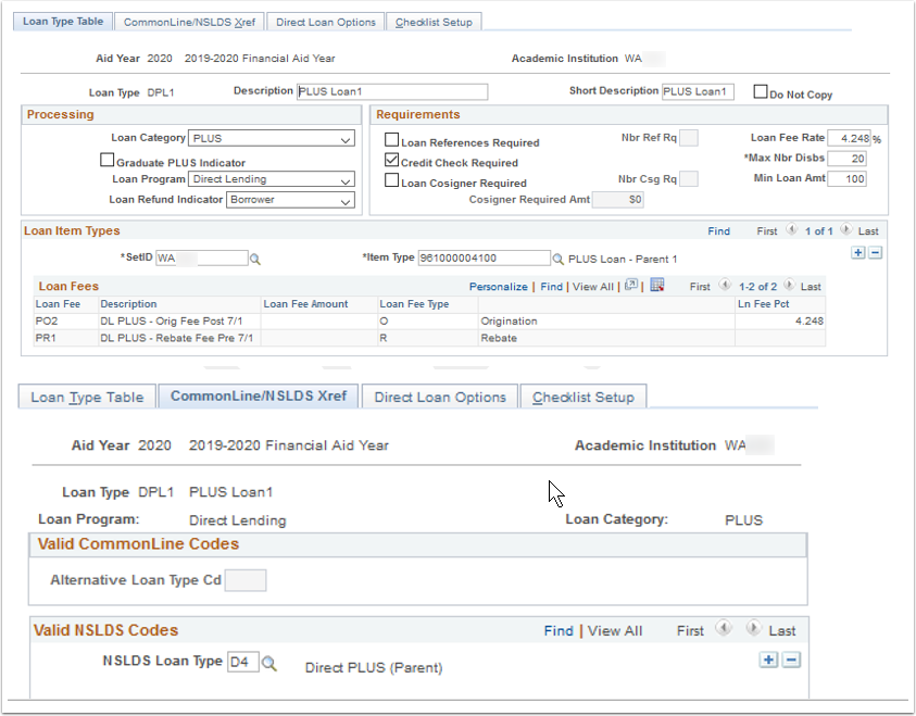 Loan Type Table and CommonLine NSLDS Xref tabs