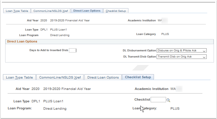 Direct Loan Options and Checklist Setup tabs