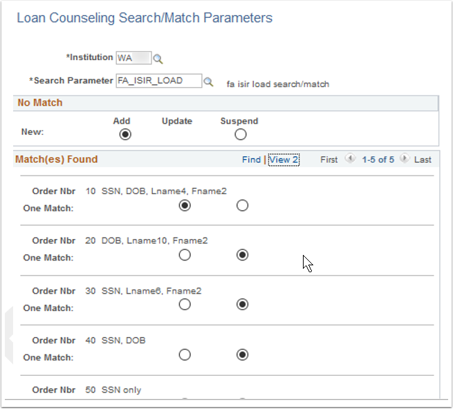 Loan Counseling Search Match Parameters page