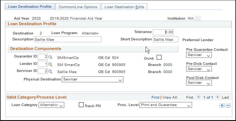 Loan Destination Profile tab
