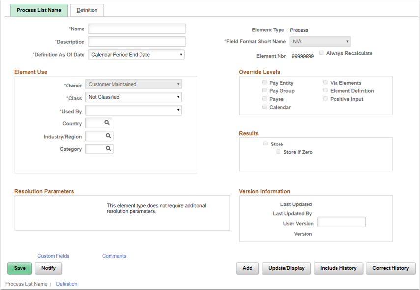 Process Lists Page Example
