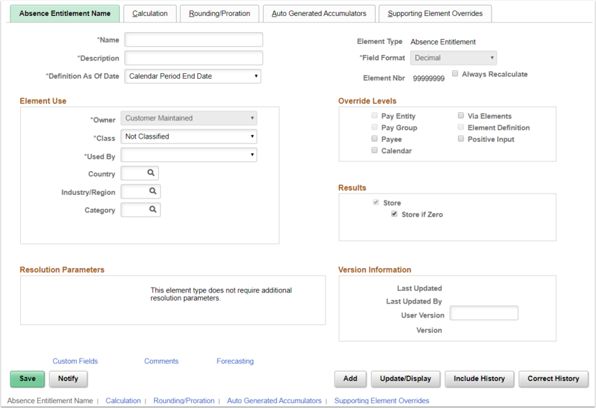 Absence Entitlements Page Example