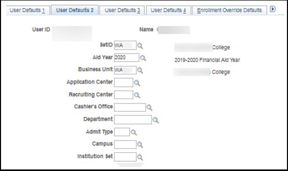 User Defaults 2 tab
