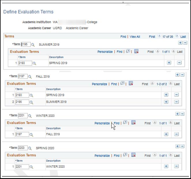 Define Evaluation Terms page