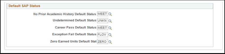 Default SAP Status section