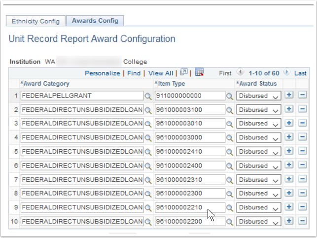 Awards Config tab
