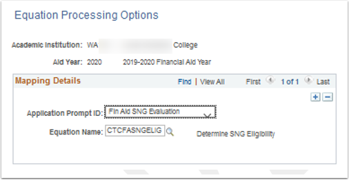 Equation Processing Options page