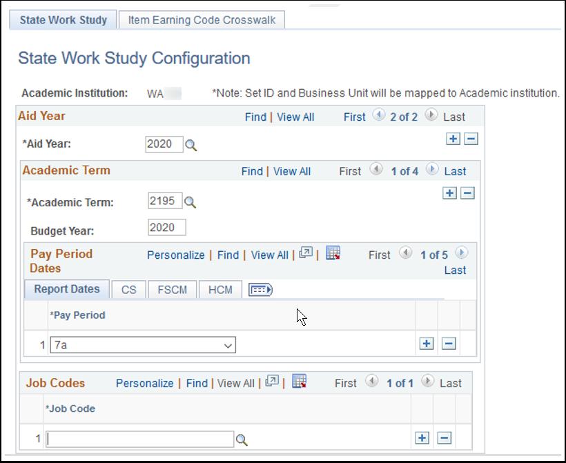 State Work Study tab