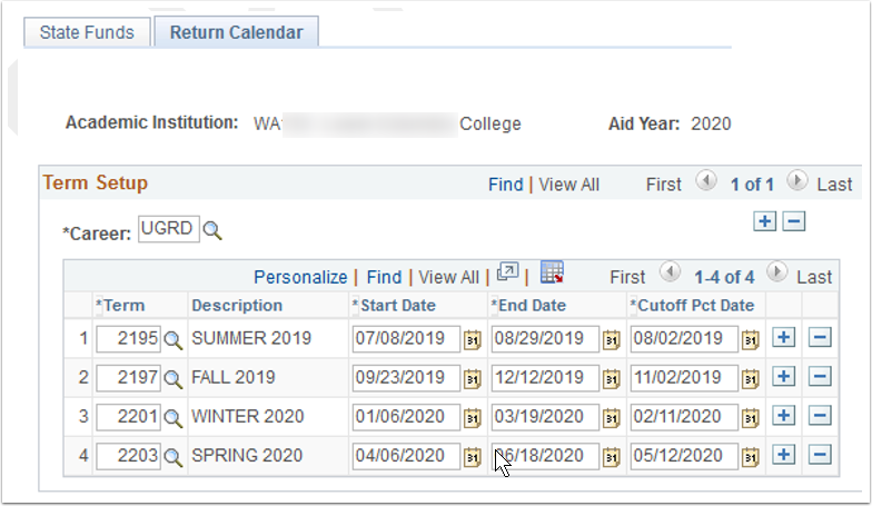 Return Calendar tab