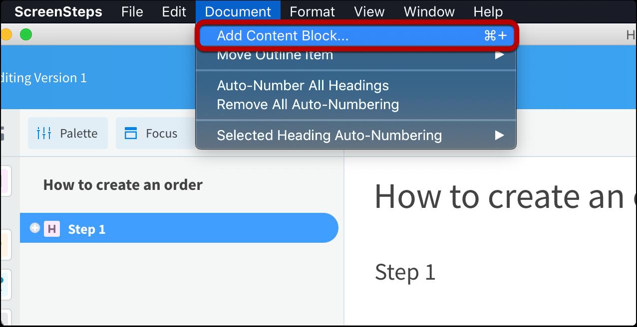 Document > Add Content Block