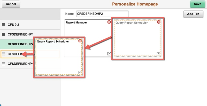 Box workflow of dragging to homepage
