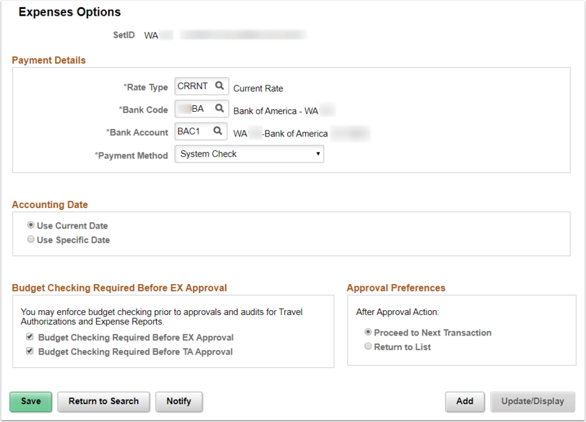 Expense Options Page Example