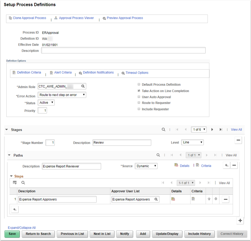Approval Process Setup Page Example