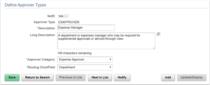 Approval Type Page Example
