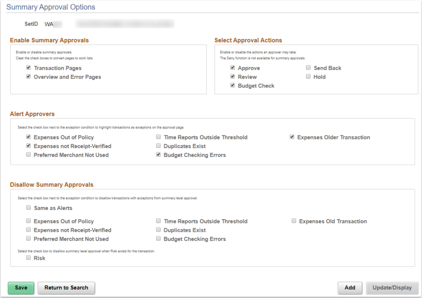 Summary Approval Options Page Example