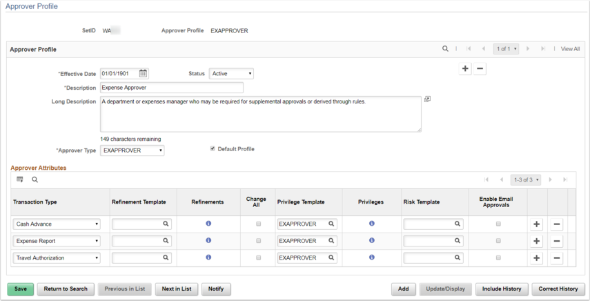 Approver Profile Page Example