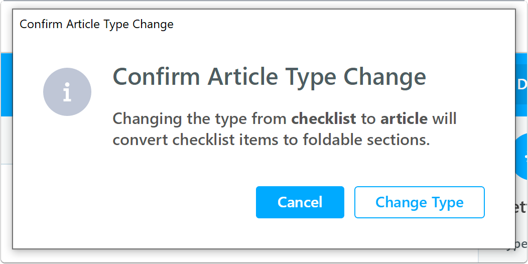 Confirm checklist to article