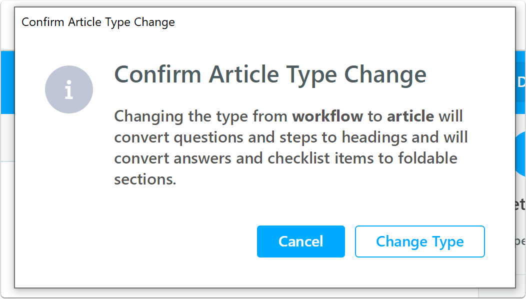 Confirm workflow to article