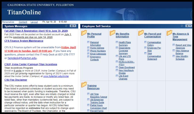 Titan Online dashboard